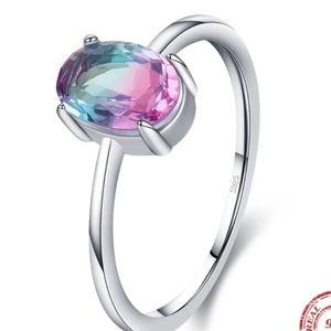 925 Sterling Silver Oval Rainbow Topaz Ring